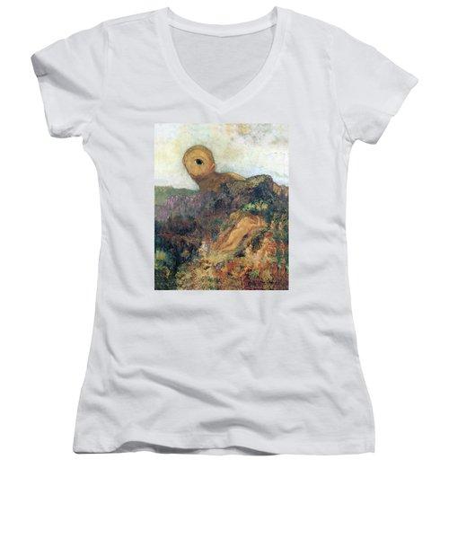 The Cyclops Women's V-Neck T-Shirt (Junior Cut) by Odilon Redon