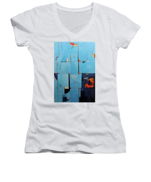 The Day Dispatches The Night Women's V-Neck T-Shirt (Junior Cut) by Bernard Goodman