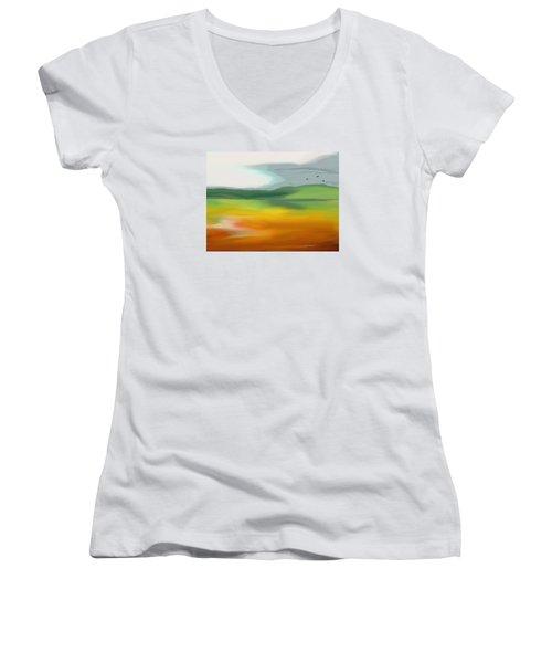 The Distant Hills Women's V-Neck T-Shirt (Junior Cut) by Lenore Senior