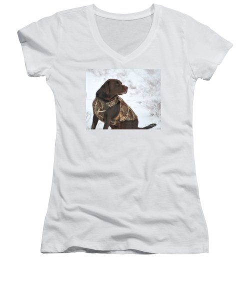 The Duck Dog Iv Women's V-Neck T-Shirt (Junior Cut) by Donna Greene