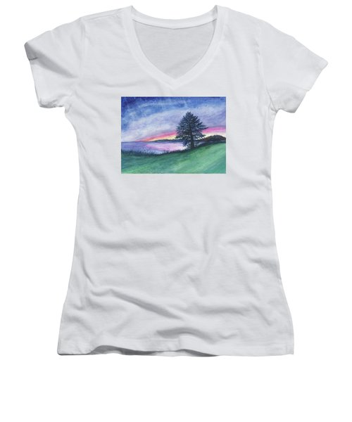 The Edge Of Evening Women's V-Neck (Athletic Fit)