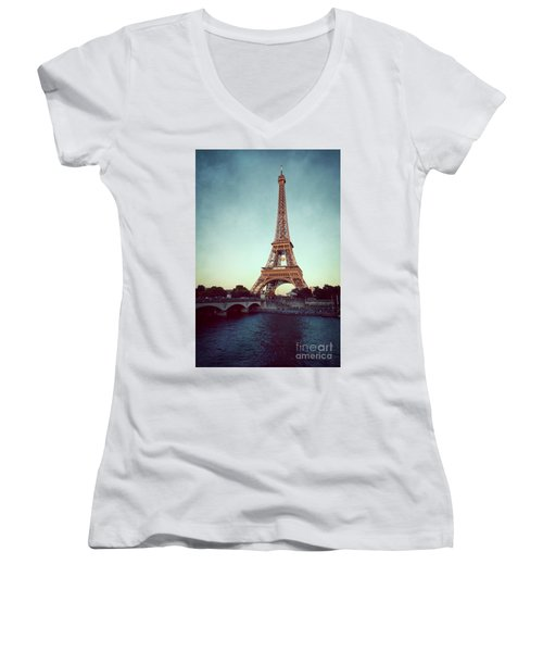 Women's V-Neck T-Shirt (Junior Cut) featuring the photograph The Eifeltower by Hannes Cmarits