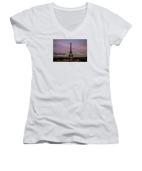 The Eiffel Tower At Sunset Women's V-Neck T-Shirt (Junior Cut) by Jean Haynes