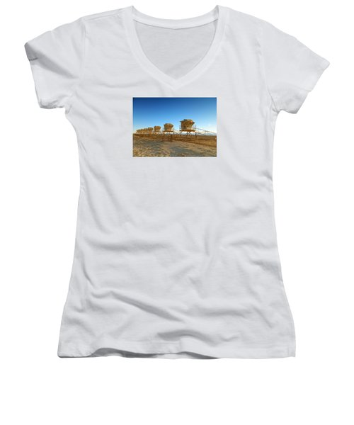 Women's V-Neck T-Shirt (Junior Cut) featuring the photograph The End Of Summer by Everette McMahan jr