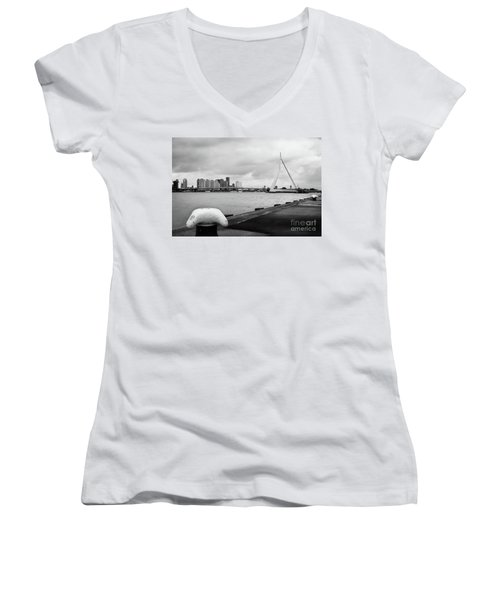 Women's V-Neck T-Shirt (Junior Cut) featuring the photograph The Erasmus Bridge In Rotterdam Bw by RicardMN Photography