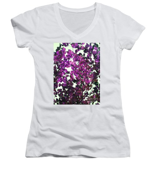 Women's V-Neck T-Shirt (Junior Cut) featuring the photograph The Fall - Intense Fuchsia by Rebecca Harman