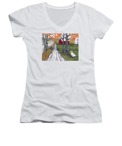 Sadie The Farm Dog Women's V-Neck T-Shirt (Junior Cut) by Jeffrey Koss