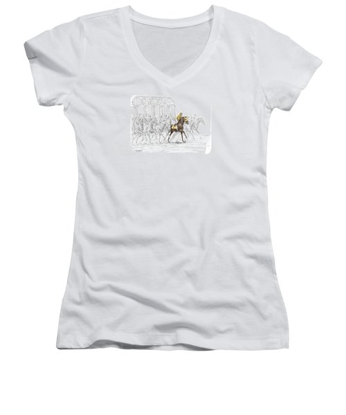 The Favorite - Thoroughbred Race Print Color Tinted Women's V-Neck T-Shirt (Junior Cut) by Kelli Swan