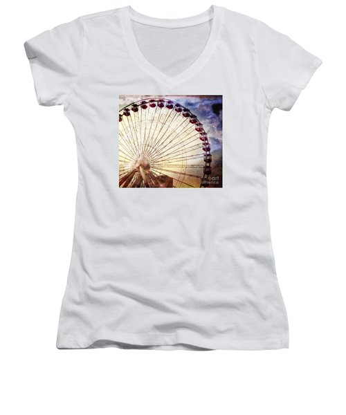 The Ferris Wheel At Navy Pier Women's V-Neck T-Shirt (Junior Cut) by Mary Machare