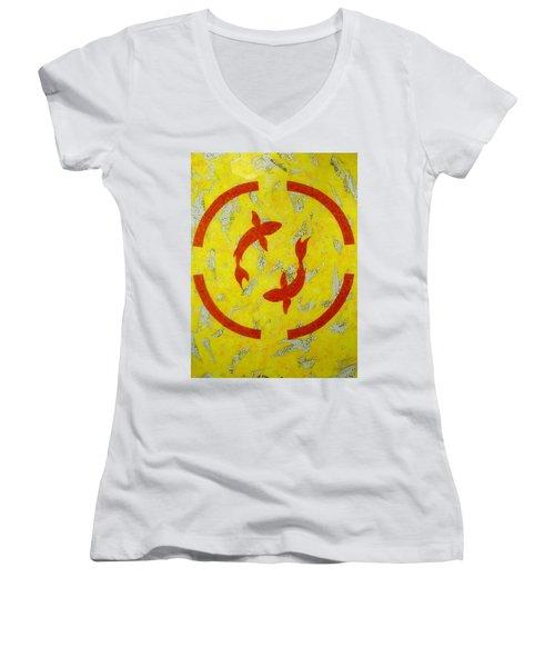 The Fishes Women's V-Neck T-Shirt (Junior Cut)