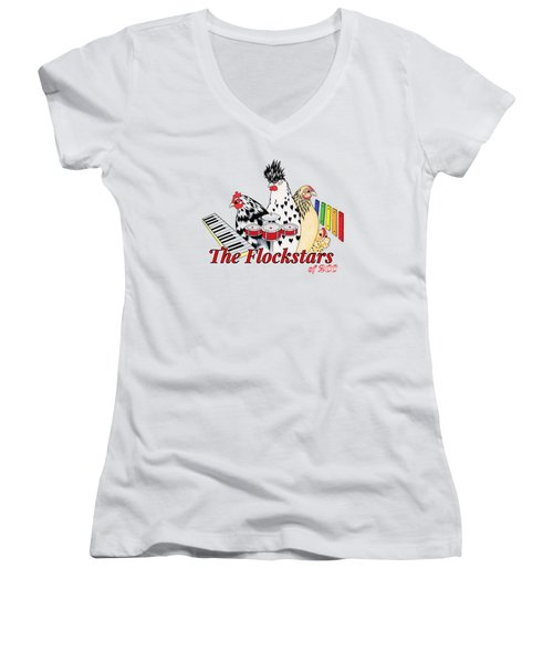 The Flockstars Women's V-Neck T-Shirt (Junior Cut) by Sarah Rosedahl