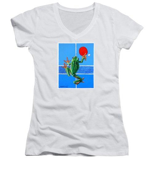 The Forehand Smash Women's V-Neck T-Shirt (Junior Cut) by John Lautermilch