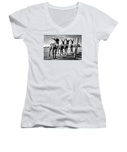 The Four Amigos Women's V-Neck T-Shirt (Junior Cut) by Sharon Jones