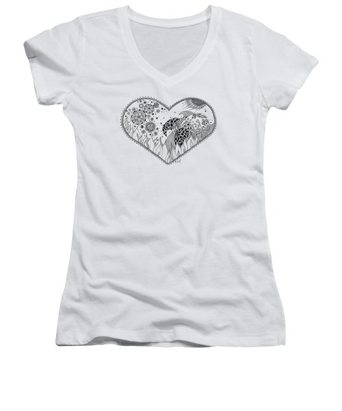 Women's V-Neck T-Shirt (Junior Cut) featuring the drawing The Four Elements by Ana V Ramirez
