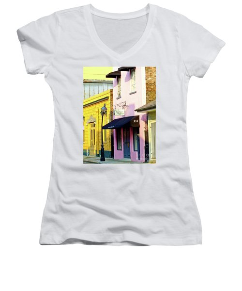 The French Quarter Wedding Chapel Women's V-Neck T-Shirt