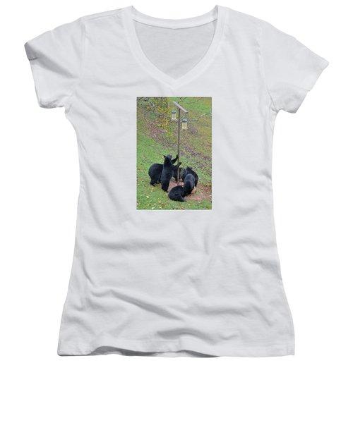 The Gangs All Here Women's V-Neck T-Shirt (Junior Cut) by Alan Lenk