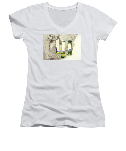 Women's V-Neck T-Shirt (Junior Cut) featuring the painting The Garden by A  Robert Malcom