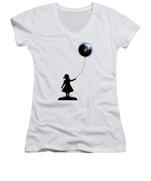 The Girl That Holds The World - White  Women's V-Neck T-Shirt (Junior Cut) by Nicklas Gustafsson