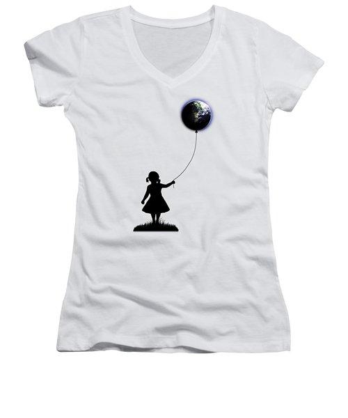The Girl That Holds The World - White  Women's V-Neck T-Shirt