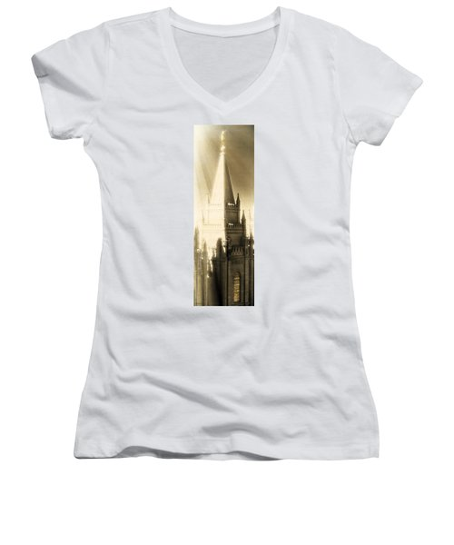 Women's V-Neck T-Shirt (Junior Cut) featuring the photograph The Glory Of The Lord Shone Round About by Greg Collins