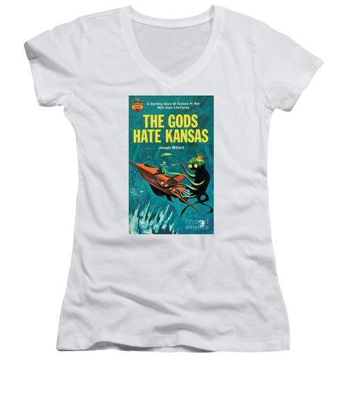 The Gods Hate Kansas Women's V-Neck T-Shirt