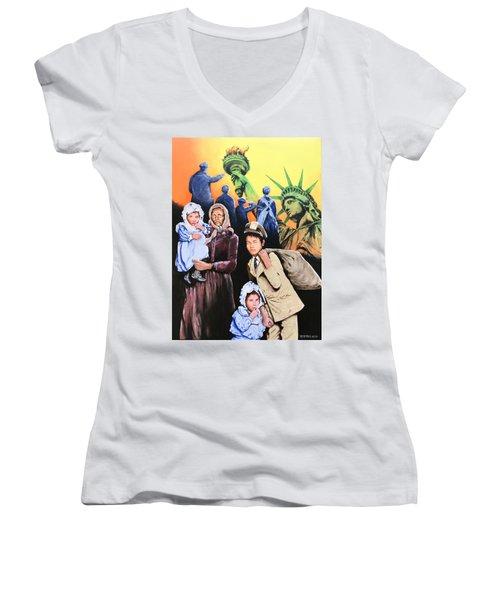 The Golden Gate To America Women's V-Neck T-Shirt