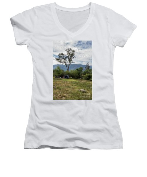 Women's V-Neck T-Shirt (Junior Cut) featuring the photograph The Good Life by Linda Lees