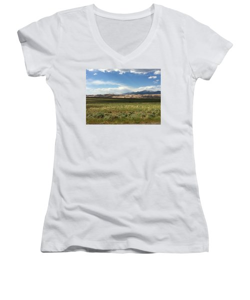 The Great Sand Dunes Women's V-Neck T-Shirt (Junior Cut) by Christin Brodie
