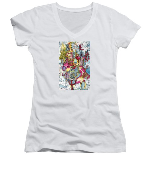The Greek Alphabet Women's V-Neck T-Shirt (Junior Cut) by Claudia Cole Meek