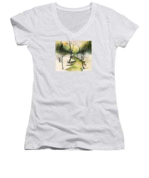 The Greenwood Women's V-Neck T-Shirt (Junior Cut) by Terry Webb Harshman