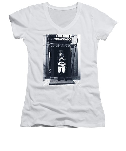 Women's V-Neck featuring the photograph The Guard At The Palace by Lorraine Devon Wilke