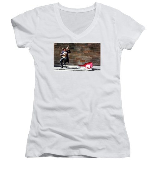 Women's V-Neck T-Shirt (Junior Cut) featuring the painting The Guitarist by David Dehner
