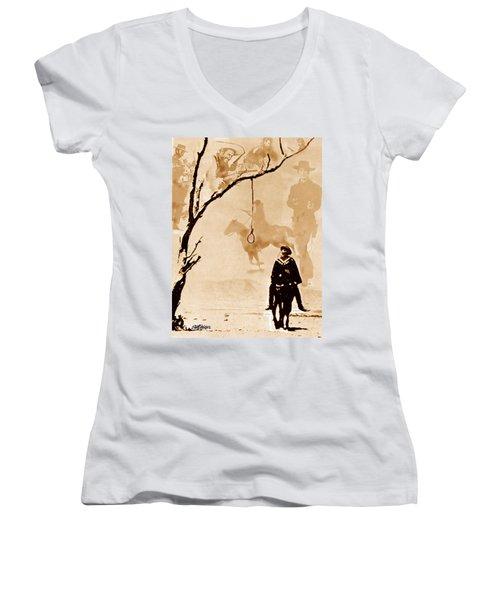 Women's V-Neck T-Shirt (Junior Cut) featuring the digital art The Hangman's Tree by Seth Weaver