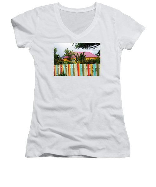 Women's V-Neck T-Shirt (Junior Cut) featuring the photograph The Happy House, Island Of Curacao by Kurt Van Wagner