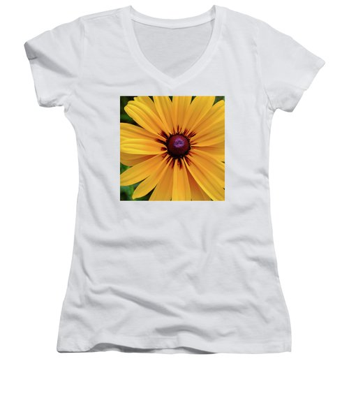 Women's V-Neck T-Shirt featuring the photograph The Heart Of A Flower by Monte Stevens