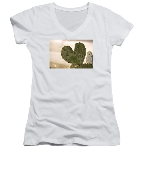 Women's V-Neck T-Shirt (Junior Cut) featuring the photograph The Heart Of Texas by Debbie Karnes