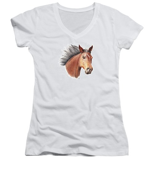 The Horse Women's V-Neck T-Shirt (Junior Cut) by Mike Ivey