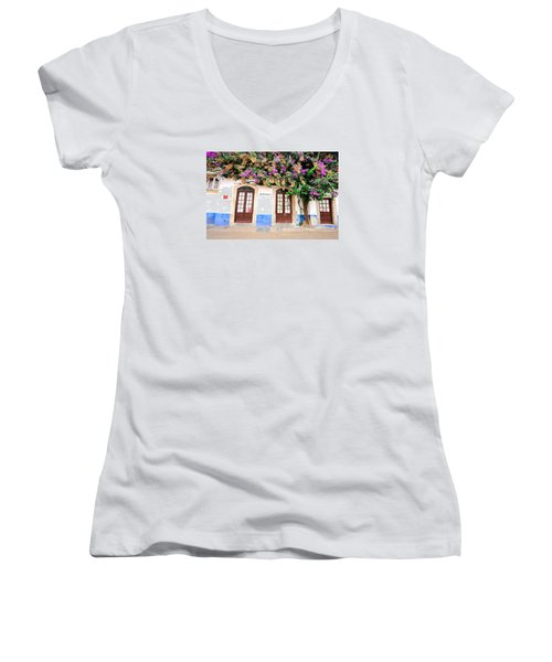 The House With The Bougainvillea Women's V-Neck (Athletic Fit)