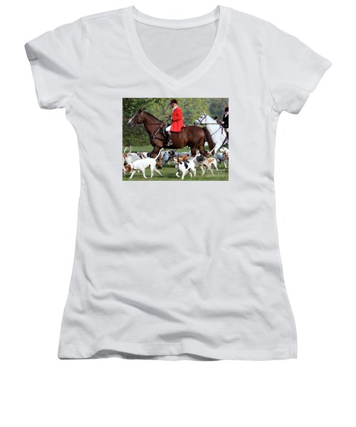 Women's V-Neck T-Shirt (Junior Cut) featuring the photograph The Hunt Is On by Polly Peacock