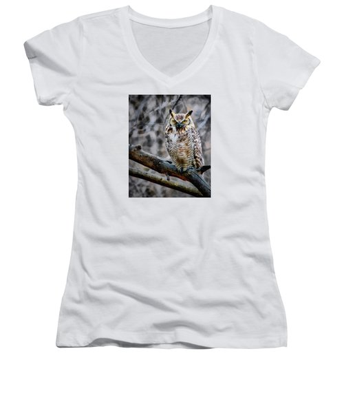 The Hunter Women's V-Neck T-Shirt (Junior Cut) by Ernie Echols