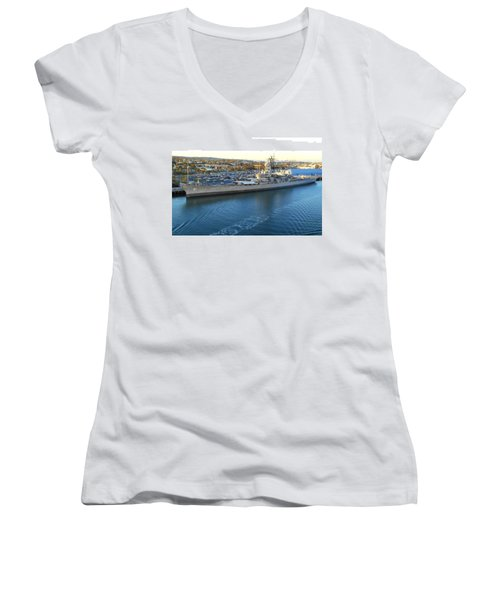 Women's V-Neck T-Shirt (Junior Cut) featuring the photograph The Iowa At Sunset by Joe Kozlowski