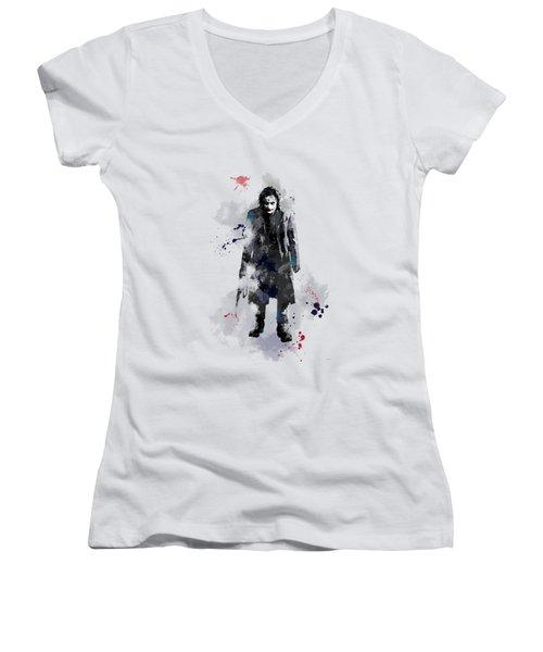 The Joker Women's V-Neck T-Shirt (Junior Cut) by Marlene Watson