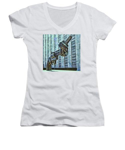 The Knotted Gun Women's V-Neck T-Shirt (Junior Cut) by Allen Beatty