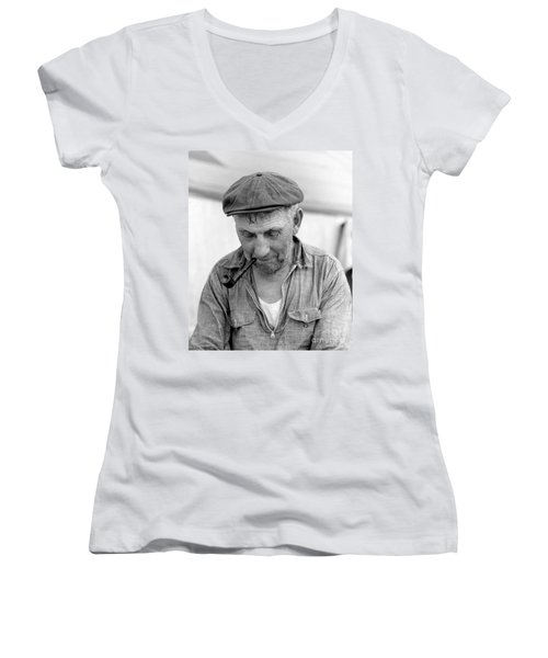 Women's V-Neck T-Shirt (Junior Cut) featuring the photograph The Pipe Smoker by John Stephens