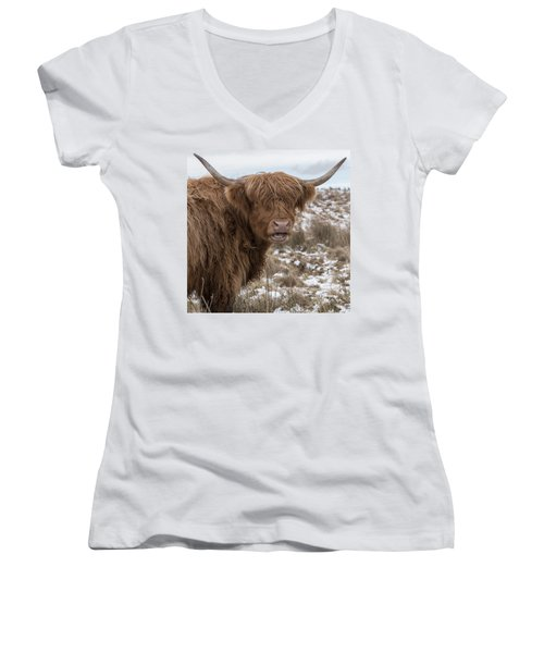 The Laughing Cow, Scottish Version Women's V-Neck T-Shirt (Junior Cut) by Jeremy Lavender Photography