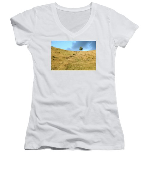 The Lines The Tree And The Hill Women's V-Neck T-Shirt (Junior Cut) by Yoel Koskas