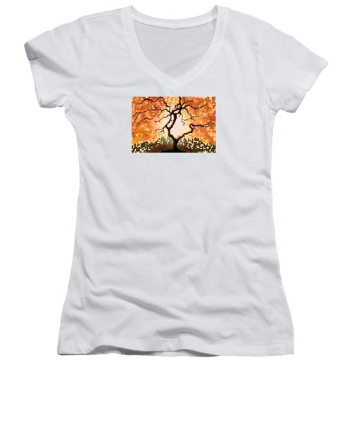The Living Tree Women's V-Neck T-Shirt (Junior Cut) by Patricia Arroyo