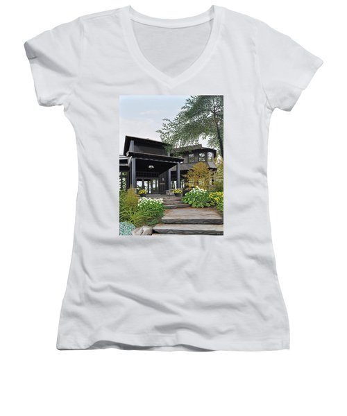 Women's V-Neck T-Shirt (Junior Cut) featuring the painting The Lodge At Fawn Island by Kenneth M Kirsch