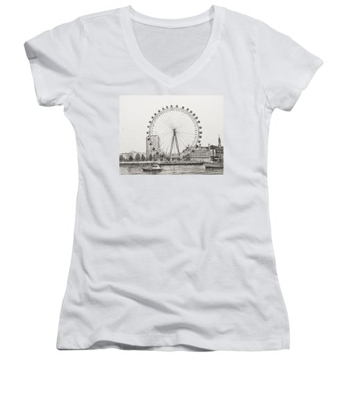 The London Eye Women's V-Neck T-Shirt (Junior Cut) by Vincent Alexander Booth