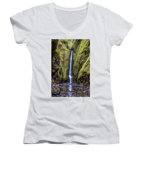 The Lush And Green Lower Oneonta Falls Women's V-Neck
